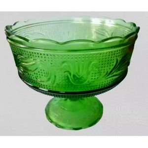 Green Glass Compote Bowl Pressed Glass